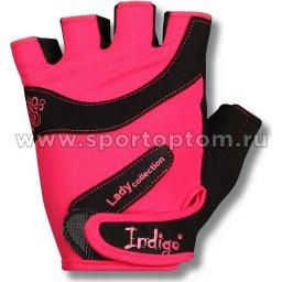 Перчатки для фитнеса женские INDIGO эластан,и/замша SB-16-1729 L Розово-черный