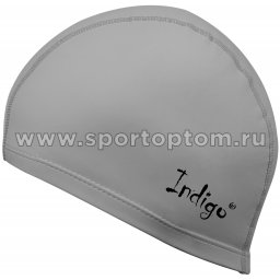Шапочка для плавания  ткань прорезиненная с PU пропиткой INDIGO IN048 Серый металлик