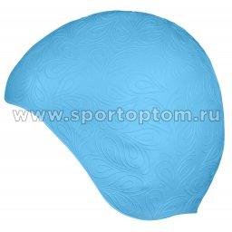 Шапочка для плавания INDIGO резиновая женская с рисунком  IN080 Голубой