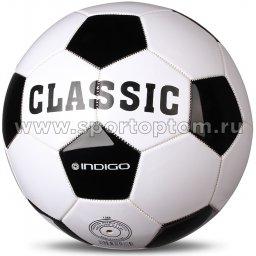 Мяч футбольный №5 INDIGO CLASSIC любительский (PVC 1.2 мм) 1149 -S/L Бело-черный