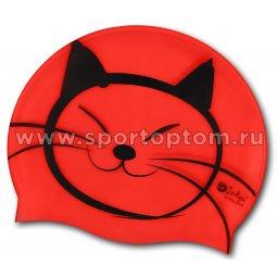 Шапочка для плавания силиконовая  INDIGO детская Котик SCCT507 Красный