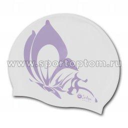 Шапочка для плавания силиконовая INDIGO Бабочка SCBT109 Белый