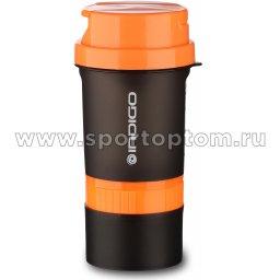Бутылка для воды (шейкер) INDIGO KIVACH IN015 400 мл Черно-оранжевый