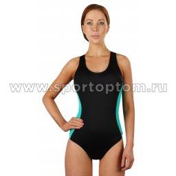 Купальник для плавания SHEPA слитный женский со вставками 006 Черно-зеленый