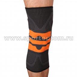 Суппорт колена эластичный INDIGO с усиленной гелеевой вставкой IN218 Черно-оранжевый