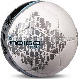 Мяч футбольный №5 INDIGO SТORM тренировочный (PU, PVC 1.5 мм) D03 Бело-голубо-серый