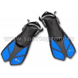 Ласты пластиковые с резиновыми вставками короткие открытая пятка INDIGO PANGA  IN067 Синий