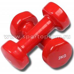 Гантели обливные с виниловым покрытием INDIGO 92005 IR 2,0кг*2шт Красный