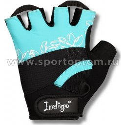 Перчатки для фитнеса женские INDIGO эластан,и/кожа,неопрен SB-16-1734 L Бирюзовый