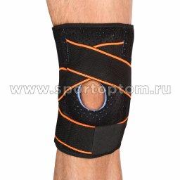 Суппорт колена неопреновый с открытой чашечкой INDIGO с компрессионными лямками  IN208 Универсальный Черно-оранжевый
