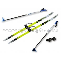 Лыжный комплект полупластиковый STC (лыжи, полужесткие крепления, палки) CA-023 130 см
