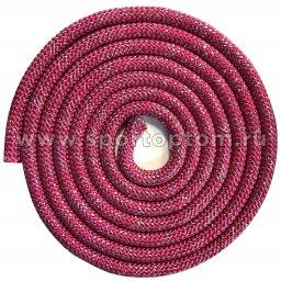 Скакалка для художественной гимнастики Утяжеленная 180 г INDIGO Люрекс SM-124 3,0 м Фуксия-люрекс