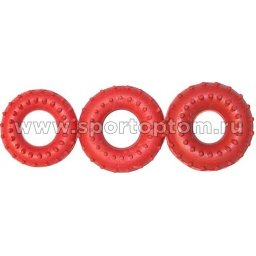Эспандер кистевой кольцо массажное 35 кг Е149 8 см Красный