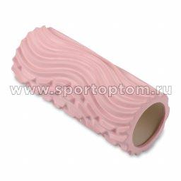 Ролик массажный для йоги INDIGO PVC Волна IN275 33*14 см Розовый