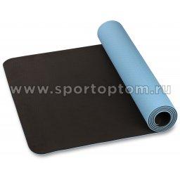 Коврик для йоги и фитнеса INDIGO TPE двусторонний IN106 Голубо-черный (4)