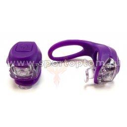 Вело Фонари детские 2шт  (2диода белый+красный 2 режима)  VL-267-2В Фиолетовый