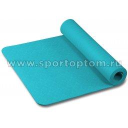 Коврик для йоги и фитнеса INDIGO TPE с тиснением IN020 173*61*0,6 см Бирюзовый