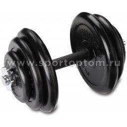 Гантель наборная обрезиненные диски INDIGO IN141 24 кг Черный