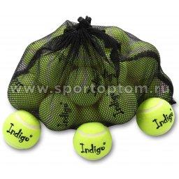 Мяч для большого тенниса INDIGO (24 шт в сетке) начальный уровень IN154 Желтый