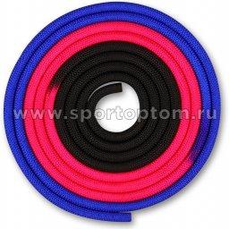 Скакалка для художественной гимнастики утяжеленная трехцветная INDIGO 165 г IN163 3 м Сине-розово-черный