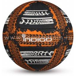 Мяч футбольный №5 INDIGO STREET GAME для игры на асфальте (PU прорезиненный) IN157 Бело-черно-оранжевый