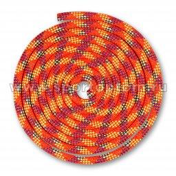 Скакалка для художественной гимнастики Утяжеленная 150 г INDIGO Люрекс SM-122 2.5 м Кораллово-фиолетово-лимонно-золотистый