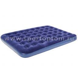 Кровать BW флокированная надувная 2-х местная со встроенным насосом 67574 203*152*38 см Синий