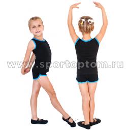 Шорты гимнастические  детские  INDIGO c окантовкой SM-218 36 Черно-бирюзовый