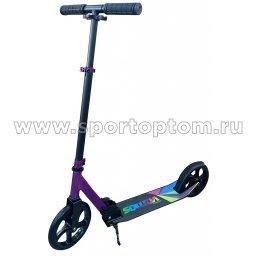 Самокат взрослый INDIGO VAMOS до 100 кг, колеса 200 мм IN054 Черно-фиолетовый