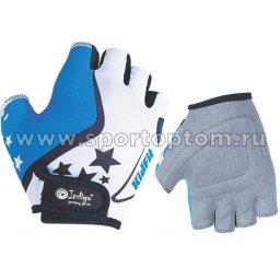 Перчатки вело детские Звездочки INDIGO  SB-01-8803 Бело-Голубой