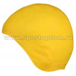 Шапочка для плавания INDIGO резиновая женская с рисунком  IN080 Желтый
