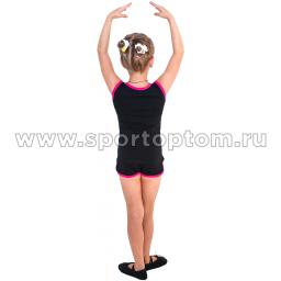 Шорты гимнастические  детские INDIGO c окантовкой SM-333 Черный-Фуксия (2)