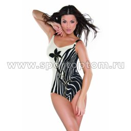 Купальник для плавания женский слитный  SHEPA  Grace Бело-черный