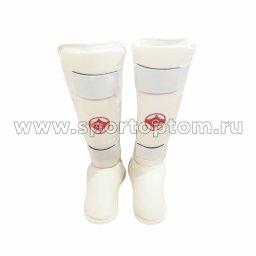 Защита голени и стопы д/карате LEOSPORT х/б   LR-07 Белый