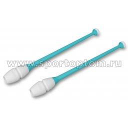 Булавы для художественной гимнастики вставляющиеся INDIGO IN019 45 см Бирюзово-белый