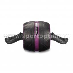Ролик гимнастический 1 колесо INDIGO возвратный механизм Черно-фиолетовый  IN 280 (2)