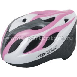 Вело Шлем подростковый SENHAI  PW-910-09 Бело-серо-розовый