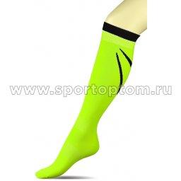 Гетры футбольные с рисунком, уплотнением и сеткой на стопе INDIGO Спорт 3-1 Салатовый-неон