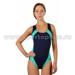 Купальник для плавания SHEPA слитный женский со вставками  009 Т.Сине-зеленый