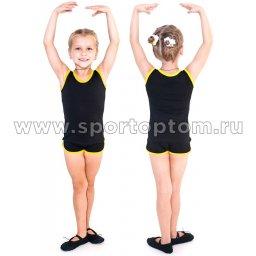Майка гимнастическая INDIGO с окантовкой SM-334 Черный-желтый