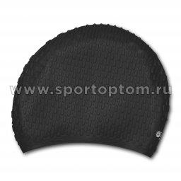 Шапочка для плавания силиконовая  длинные волосы рифленная INDIGO 702 SC Черный
