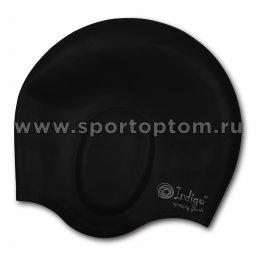 Шапочка для плавания силиконовая INDIGO анатомическя форма 402 SC Черный
