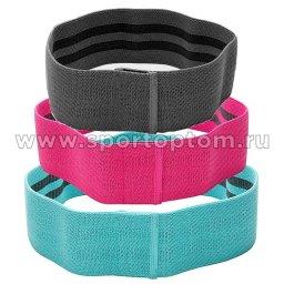 Эспандер в наборе 3 тканевых резинки разной нагрузки INDIGO IN150 8см*66/76/86см Розовый, голубой, черный