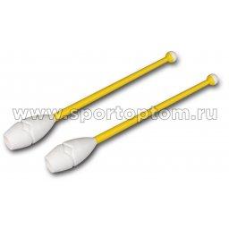 Булавы для художественной гимнастики вставляющиеся INDIGO IN018 41 см Желто-белый