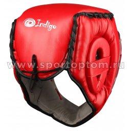 Шлем боксёрский с защитной маской INDIGO PU PS-832 Красный (2)