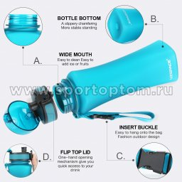 Бутылка для воды с сеточкой UZSPACE 500мл тритан 6008 Бирюзовый матовый (3)