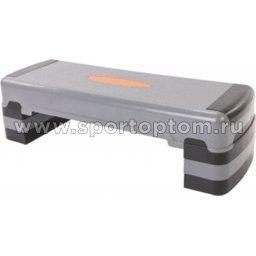 Степ-платформа для аэробики 3 уровня INDIGO 97317 IR 90*32*15/21/27 см Серо-черный
