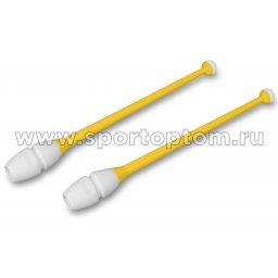 Булавы для художественной гимнастики вставляющиеся INDIGO IN017 36 см Желто-белый