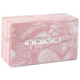 Блок для йоги INDIGO   IN259 22,8*15,2*7,6 см Мраморный розовый