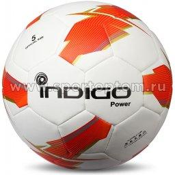 Мяч футбольный №5 INDIGO POWER матчевый бесшовный (PU PVC 1.4мм) Z02 Бело-оранжевый